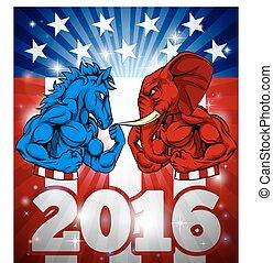 burro, concepto, contra, elección, elefante,  2016