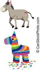 burro, conjunto, pinata