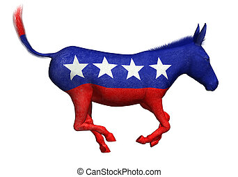 burro, demócrata, galopar