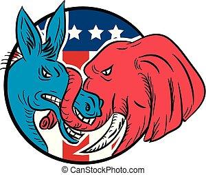 burro, elefante, bandeira americana, tronco, morder, desenho