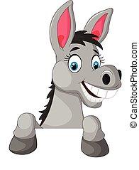 burro, em branco, caricatura, sinal