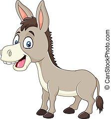 burro, feliz, aislado, caricatura