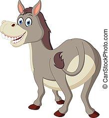 burro, feliz, caricatura