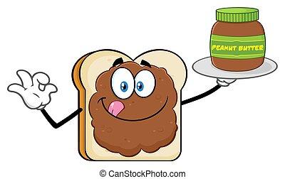 burro, fetta, arachide, carattere, vaso, presa a terra, mascotte, cartone animato, bread