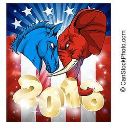 burro, luta, americano, elefante, política, 2016