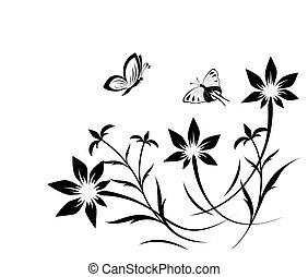 burro, modello, astratto, fiore