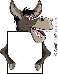burro, muestra en blanco, caricatura