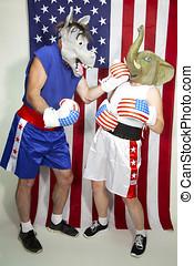 burro, mujer, (democrat), máscara, norteamericano,...