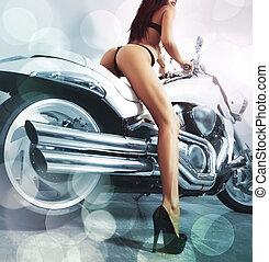 burro, mulher, jovem, longo, quentes, motocicleta, excitado, pernas