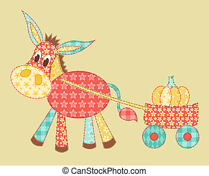 Burro patchwork - Children's application. Buro. Patchwork...