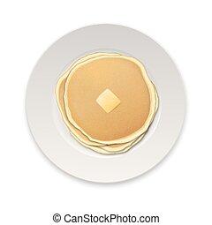 burro, piastra, vettore, eps10, frittella, realistico, cibo, menu, cima, isolato, illustrazione, concept., homestyle, fondo, disegno, sagoma, closeup, vista., pezzo, bianco, colazione