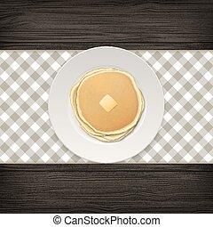 burro, piastra, vettore, eps10, frittella, realistico, cibo, menu, cima, pezzo, illustrazione, concept., homestyle, fondo, disegno, sagoma, closeup, vista., legno, bianco, colazione