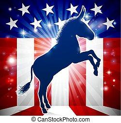 burro, político, democrata, mascote