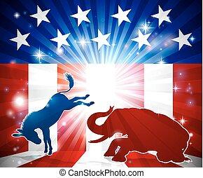 burro, silueta, lucha, elefante