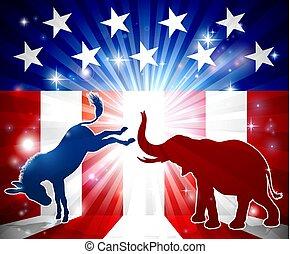 burro, Siluetas, lucha, elefante