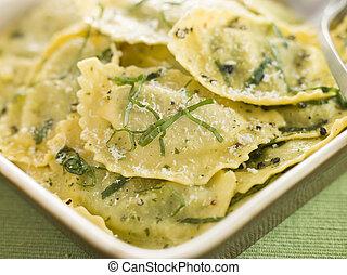 burro, spinacio, saggio, piatto, pietanza, ricotta, ravioli