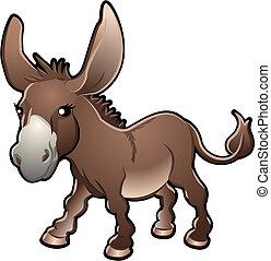 burro, vector, lindo, ilustración