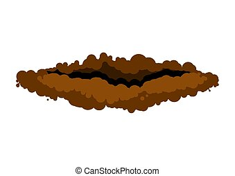 burrow in ground. den groundhog rodent on white background. ...