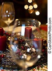 burry, Kerzen, Fokus, hintergrund, heraus, Brille