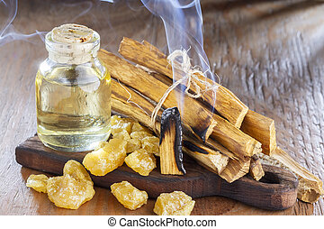 """Bursera graveolens, essence and resin. in Spanish (""""palo santo"""") is a wild tree in Latin America. used as incense."""