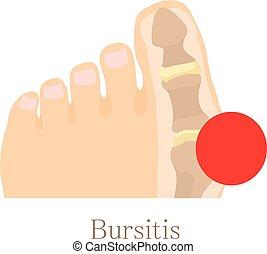 Bursitis icon, cartoon style