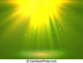 burst., dorato, magia, fondo., luce, astratto, vacanza