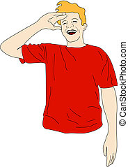 Burst in laughs - Guy with light colored hair in red shirt...