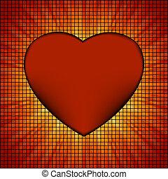 Burst Mosaic heart card template. EPS 8