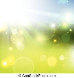 burst., soleil, été, lumière jaune