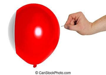 Bursting balloon colored in national flag of bahrain