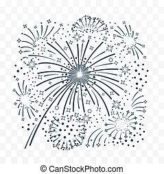 Bursting fireworks  black and white.