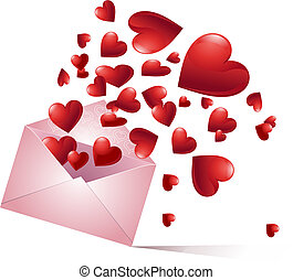 Bursting hearts - Envelope with bursting hearts. Vector...