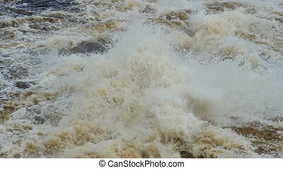 bursts and splashes of seething water, slow motion