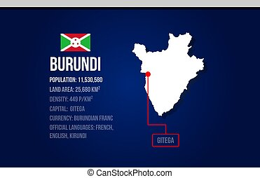 Burundi country infographic with flag and map creative design