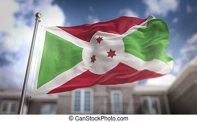 Burundi Flag 3D Rendering on Blue Sky Building Background