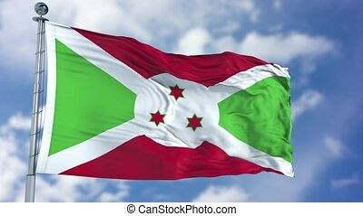 Burundi Flag in a Blue Sky. Use this clip loud and proud to express loyalty and love to our country. It is a seamless loop with luma channel.