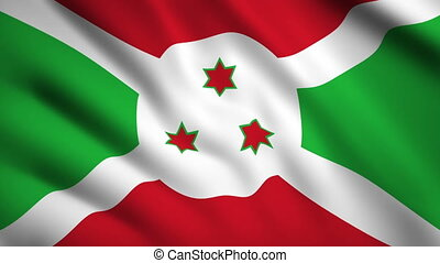 Burundi flag Motion video waving in wind. Flag Closeup 1080p HD footage