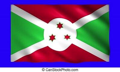 Burundi flag on blue screen for chroma key