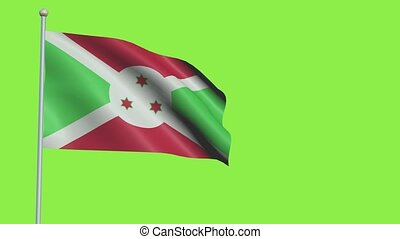 Burundi Flag in 3D render with green screen background in Slow Motion