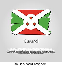 Burundi Flag with colored hand drawn lines in Vector Format