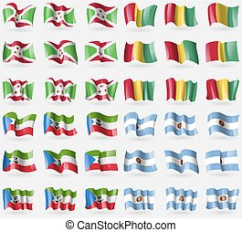 Burundi, Guinea, Equatorial Guinea, Argentina. Set of 36 flags of the countries of the world. Vector