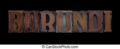 Burundi in old wood type