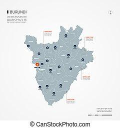 Burundi infographic map vector illustration.