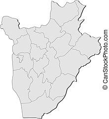 burundi, landkarte, -
