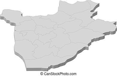 burundi, landkarte, 3d-illustration, -