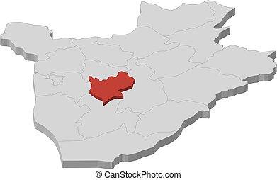 burundi, landkarte, 3d-illustration, -, mwaro