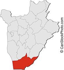 burundi, landkarte, -, makamba