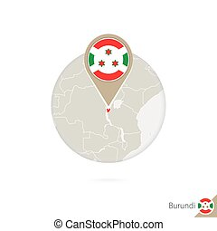 Burundi map and flag in circle. Map of Burundi, Burundi flag...