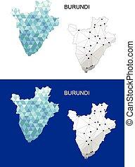 Burundi map in geometric polygonal