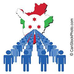 burundi, mapa, bandera, gente